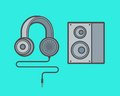 Set of earphones and woofer Royalty Free Stock Photo
