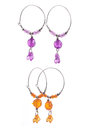 Set of earrings colorful on white background Royalty Free Stock Images