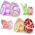 Set of easter bunnies Royalty Free Stock Images