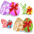 Set of easter bunnies Stock Photos