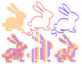 Set of easter bunnies Stock Photography