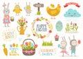 Set Of Easter Cartoon Characte...