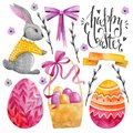 Set of easter characters. Elements for your design. Watercolor drawing. Pink shades. Rabbit, basket, Easter eggs and willow twigs