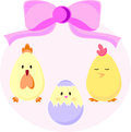 Set of easter chicks newborn chicken and hens vector illustration abstract pattern Stock Image