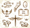 Set of easter christianity symbols decorative holy elements Royalty Free Stock Photography