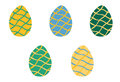 Set of Easter colorful eggs with wavy lines in Royalty Free Stock Photo