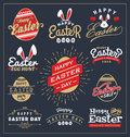 Set of easter day typography badge and labels design happy typographic collections vector illustration Stock Photo