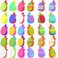 Set of easter eggs with bow bright colored bows on white background Royalty Free Stock Photography