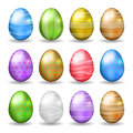 Set of easter eggs decorated various colors vector eps Stock Images