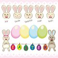 Set of easter eggs with the easter bunny happy bunnies and Stock Image