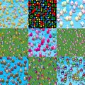 Set of easter eggs generated seamless textures