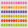 Set of easter eggs isolated on white background. Icons in flat style with bright colors. Vector Illustration. Good for Easter holi