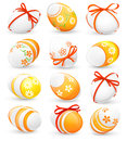 Set easter eggs isolated white vector Royalty Free Stock Photography