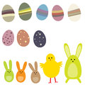 Set of easter eggs and rabbits Stock Photo