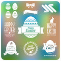 Set of easter elements and labels. Flat desig Stock Images