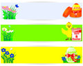Set of easter horizontal banners. Stock Photos