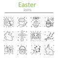 Set of Easter icons in the outline style.