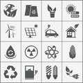 Set of eco energy icons with wind nuclear and solar power electric car recycling light bulb maize biofuel rechargeable battery Royalty Free Stock Image