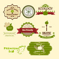 Set of eco icons for for food vegetarians restaurants and organic products Stock Photo