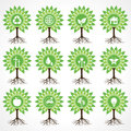 Set of eco icons on tree stock vector Stock Image