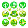 Set of eco recycle green icons on the white background Stock Photography