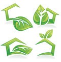 Set of ecological houses and homes symbols signs collection icons Royalty Free Stock Images