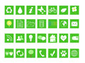 Set of ecological icons on ecology and environment in green color Royalty Free Stock Photo
