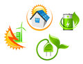Set of ecological icons for environment design in glossy style Stock Image