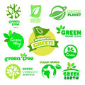 Set of ecology green icons on the white background Stock Photo
