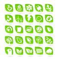 Set of ecology green renewal energy icons on the white background Stock Photos