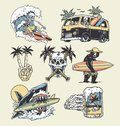 A set of edgy surf and beach illustrations. For t-shirts, stickers and other similar products. Royalty Free Stock Photo