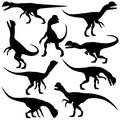 Set of editable vector silhouettes of dilophosaurus dinosaurs in various poses Royalty Free Stock Images