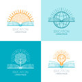 Set of education logo, icons, emblems design elements. O