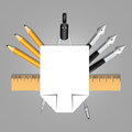 Set of educational decoration tools. Sheets of paper, pencils, pens, ruler and compass. Designed as heraldry for students and teac