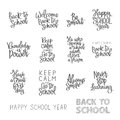 Set of educational quotations welcome back to school happy school year have a great first day the trend calligraphy vector Royalty Free Stock Images