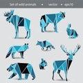A set of eight animals. Wild animals in the flat Graphics. Illus
