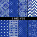 Set of eight blue patterns