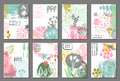 Set of eight cards with hand drawn abstract ink texture and floral nature motif.