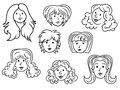 Set of eight cartoon women contour faces with funny over white hand drawing vector illustration Stock Photography