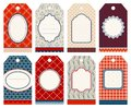 Set Of Eight Christmas Hangtags Pattern Beige Red Blue