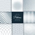 Set of eight different line pattern background Royalty Free Stock Photo