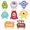 Set of eight funny toothy monsters with wide smiles Royalty Free Stock Photos