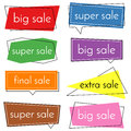 Set of eight sale vector banners with colorful design elements.