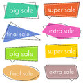 Set of eight sale vector bannes with colorful design elements.