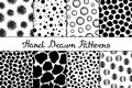 Set of eight seamless textures. Patterns with spheres, round and oval elements and spots. Abstract forms drawn a wide pen and ink.