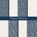 Set of eight seamless vector flower patterns. design for packaging, covers, textile Royalty Free Stock Photo