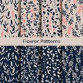 Set of eight seamless vector spring patterns with hand drawn flower print. design for textile, covers, packaging Royalty Free Stock Photo