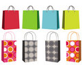 Set of eight shopping bags Royalty Free Stock Photo
