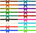 Set of eighteen holiday bows with gold edging and vector illustration collection ribbons eps rgb created gradient mesh Royalty Free Stock Image