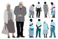 Set elderly people silhouettes over white background Stock Photos